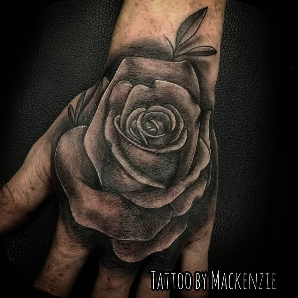 shaded rose hand tattoos kenziegurls_tattoos