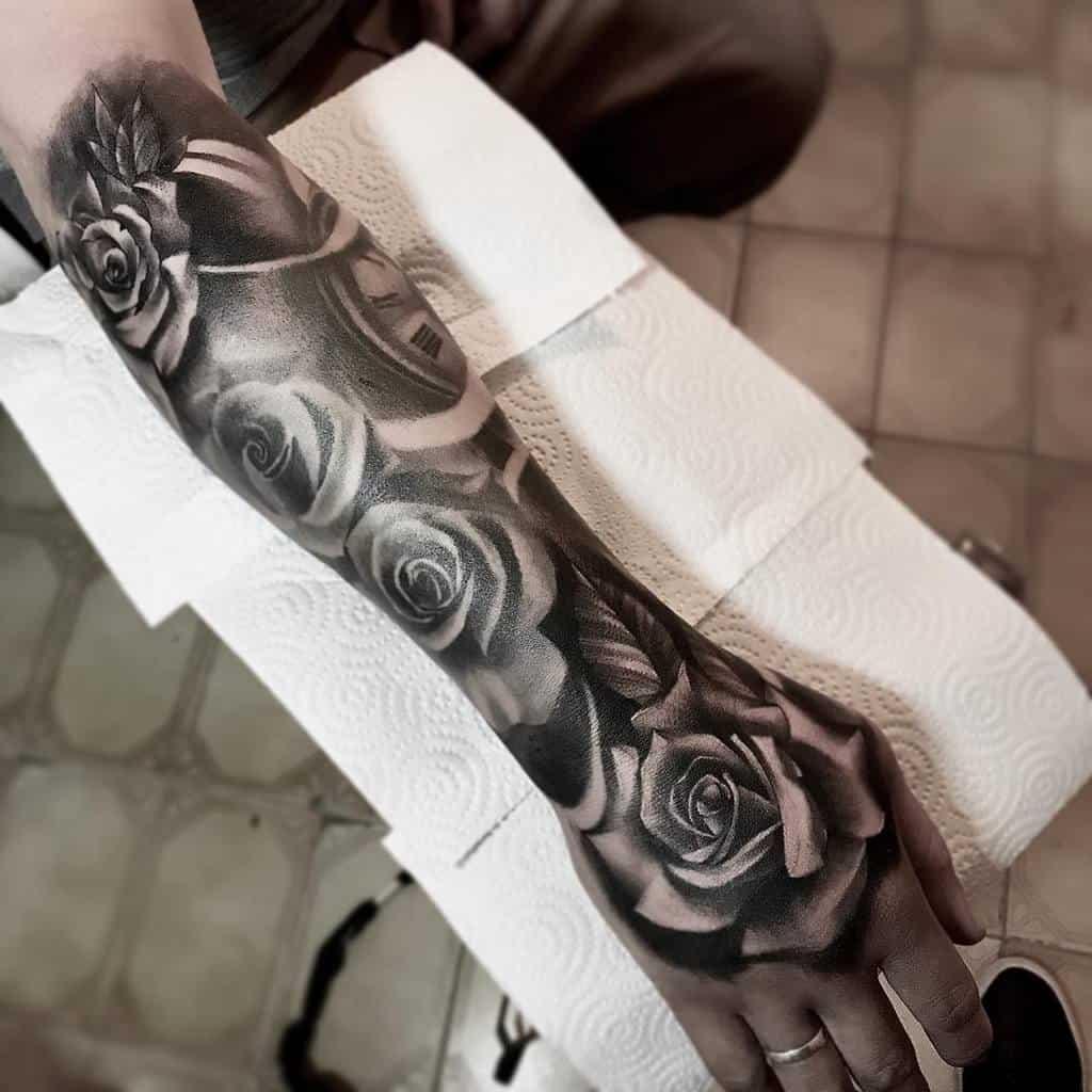 shaded rose hand tattoos nahuelmatiastattoo