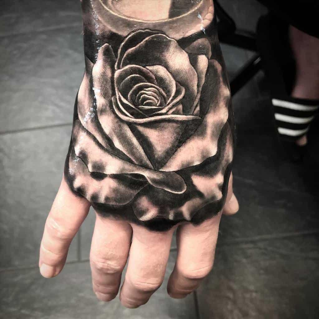shaded rose hand tattoos semttattoo