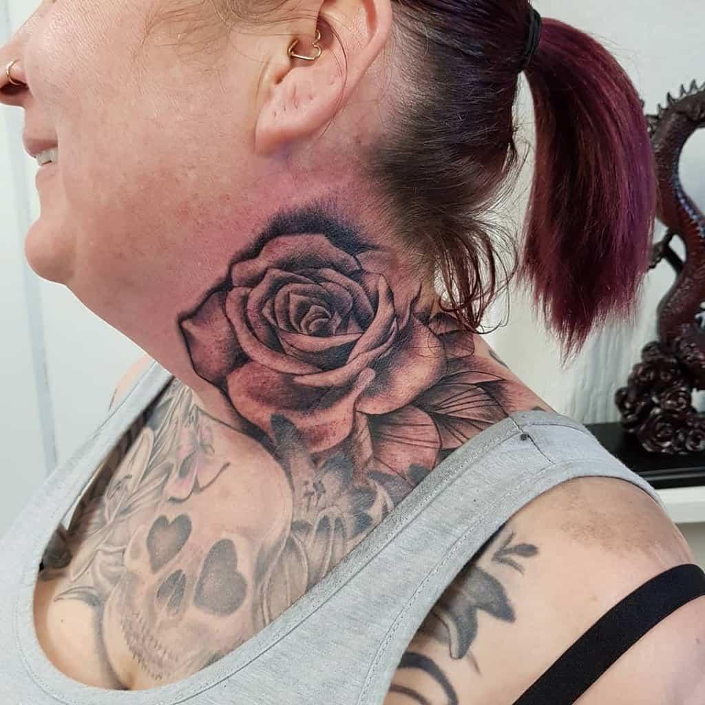 shaded rose neck tattoos eagleinktattoostudio_durham