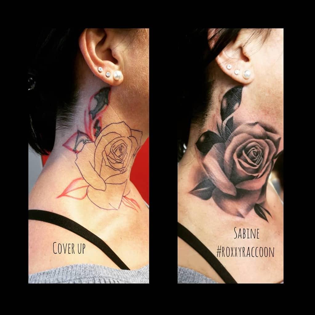 shaded rose neck tattoos roxxyraccoon