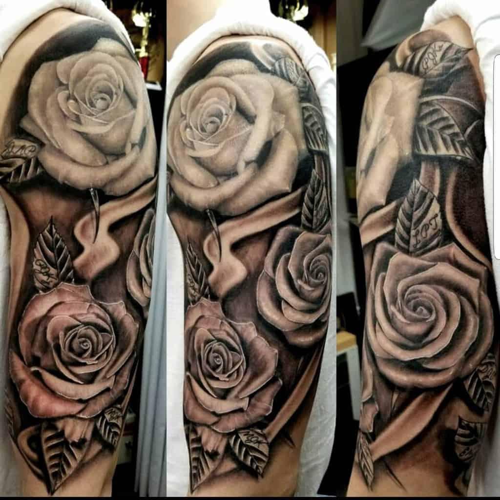 shaded rose sleeve tattoos 2 rubenaguayo_ink