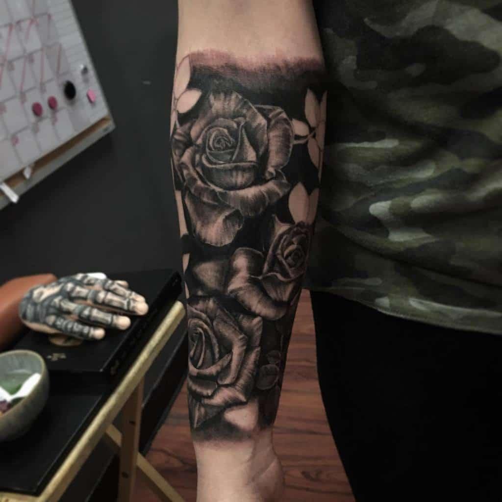 shaded rose sleeve tattoos imomartian