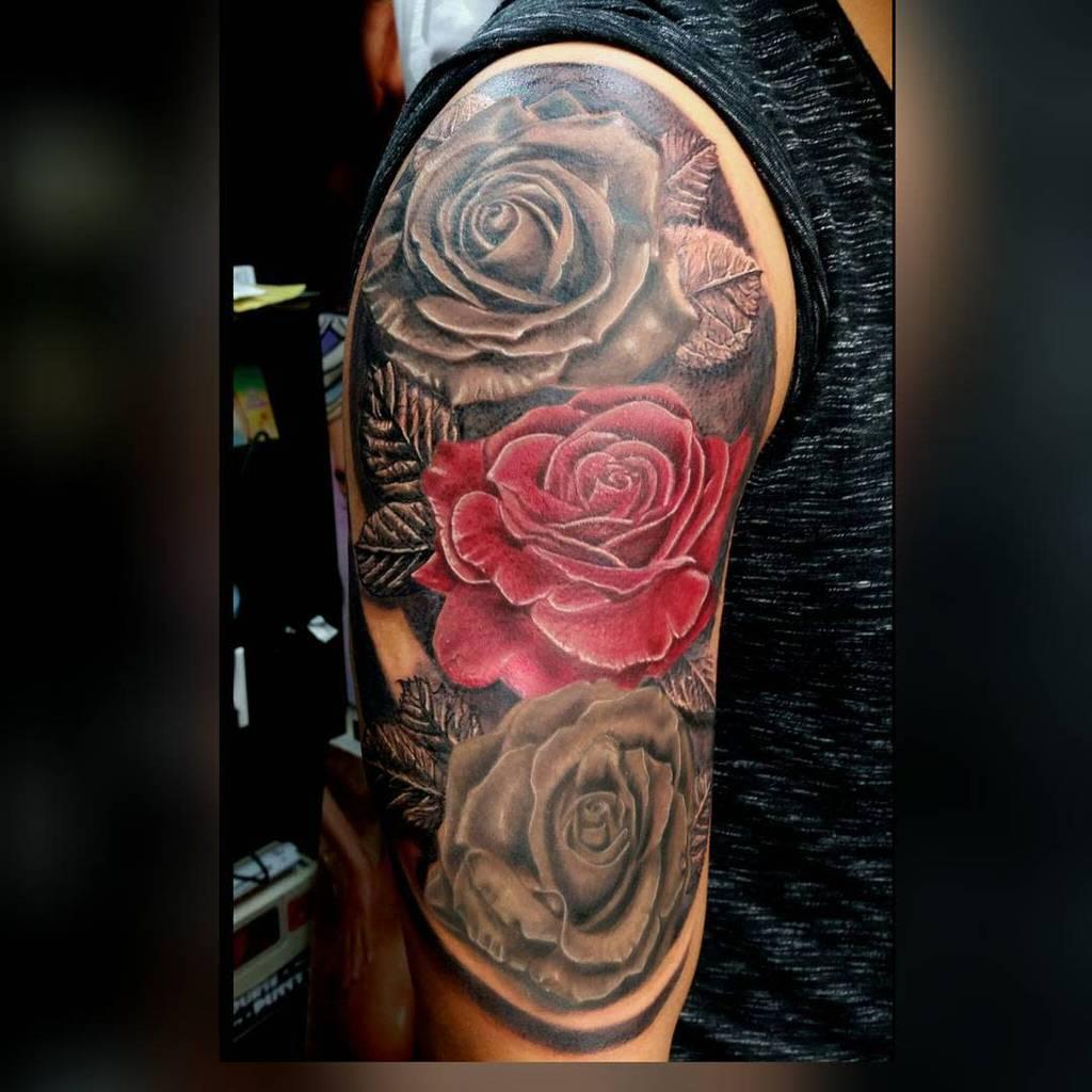 shaded rose sleeve tattoos rubenaguayo_ink