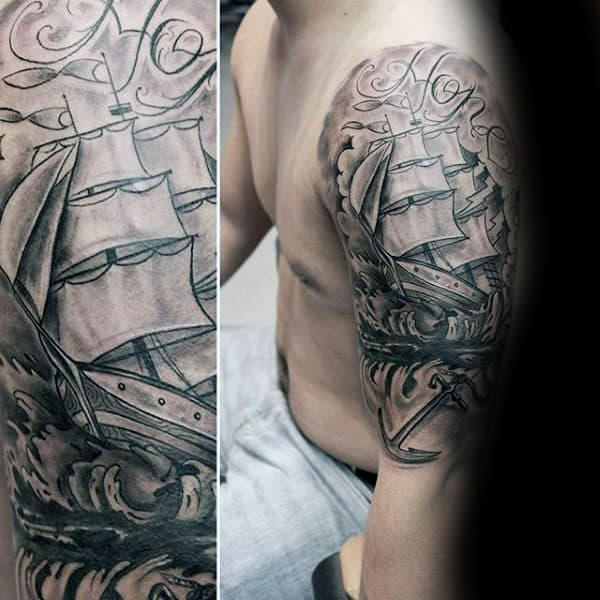 Shaded Sailing Ship Anchor Guys Hope Half Sleeve Tattoos
