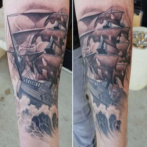 c203ed1f9 Shaded Sailing Ship With Ocean Waves Guys Nautical Forearm Tattoo