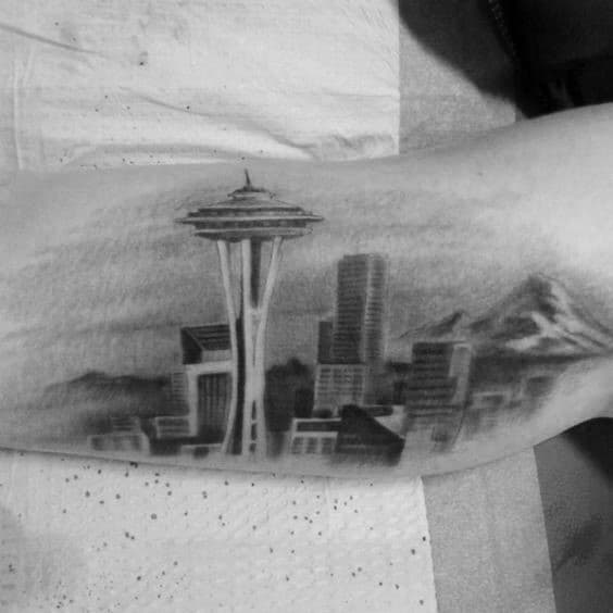 Shaded Seattle Skyline Inner Arm Bicep Tattoos For Guys