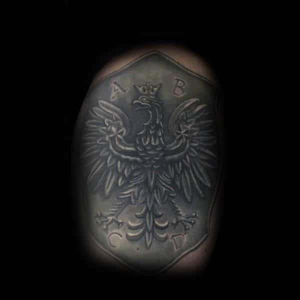 Shaded Shield Armor Polish Eagle Mens Arm Tattoo Design Ideas