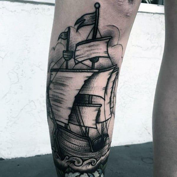 Shaded Sialing Ship At Sea Shin Guys Tattoos