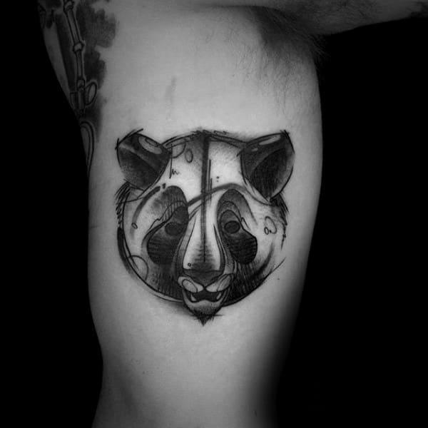 Shaded Sketch Panda Inner Arm Bicep Tattoos For Guys