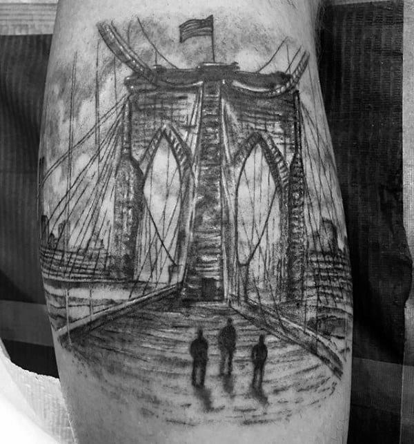 Shaded Sketched Bridge Mens Leg Calf Tattoo
