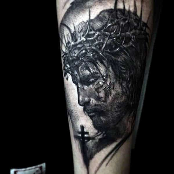 Shaded Sketched Guys Jesus Forearm Tattoo