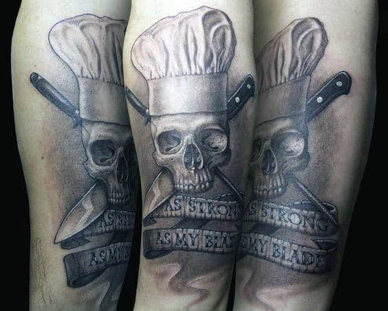 Shaded Skull And Crossbones Chef Knife Arm Tattoos For Gentlemen