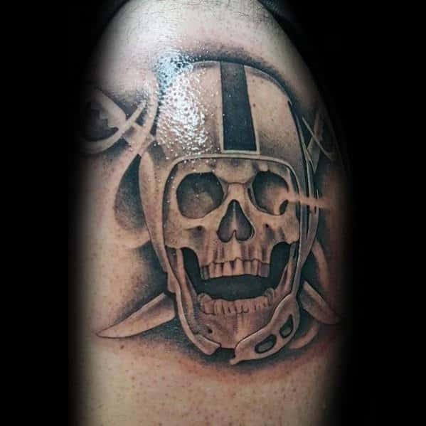 Shaded Skull Arm Male Oakland Raiders Nfl Tattoos