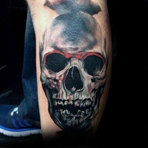 Shaded Skull Guys 3d Leg Tattoo Design Ideas