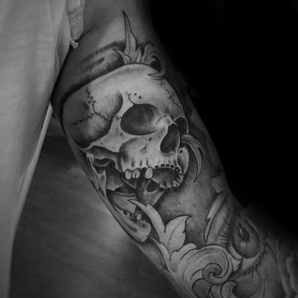 Shaded Skull Guys Filigree Sleeve Tattoo Designs