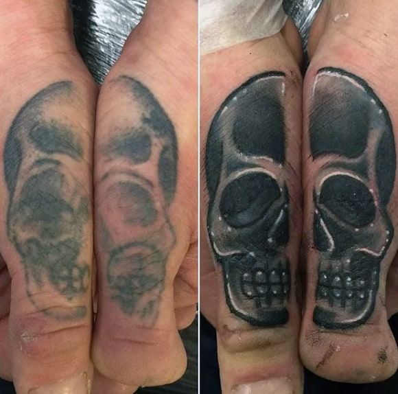 Shaded Skull Mens Thumb Tattoos