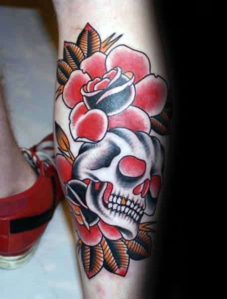 Shaded Skull With Red Rose Flower Mens Leg Traditional Tattoo Designs