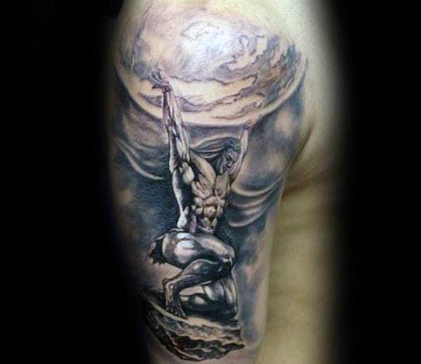 Shaded Sky Mens Half Sleeve Atlas Tattoos