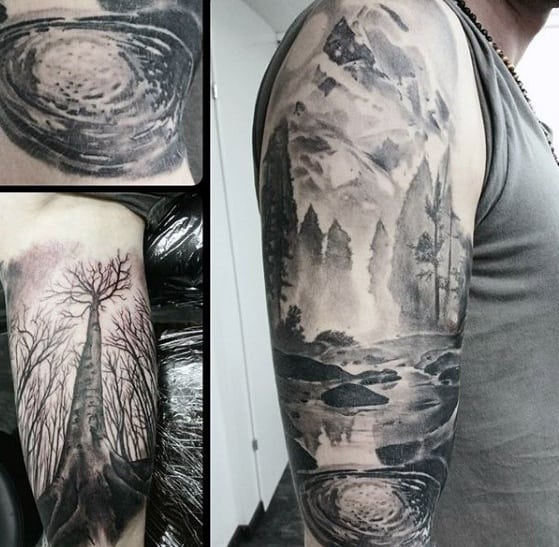 Shaded Sleeve Incredible Lake Tattoos For Men
