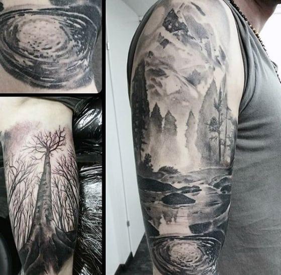 40 lake tattoo designs for men nature ink ideas. Black Bedroom Furniture Sets. Home Design Ideas