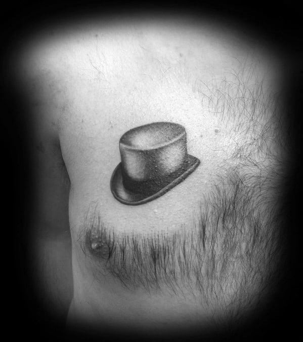 Shaded Small Upper Chest Top Hat Tattoos For Gentlemen