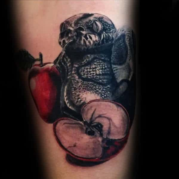 Shaded Snake With Red Apple Mens Arm Tattoos