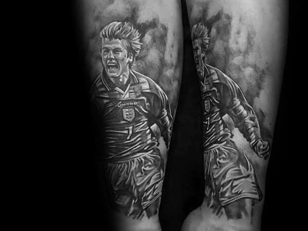 Shaded Soccer Player Portrait Leg Manchester United Tattoo Ideas For Males