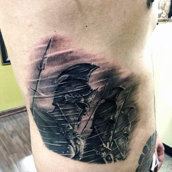Shaded Spartan Spear Mens Rib Cage Side Tattoo Designs