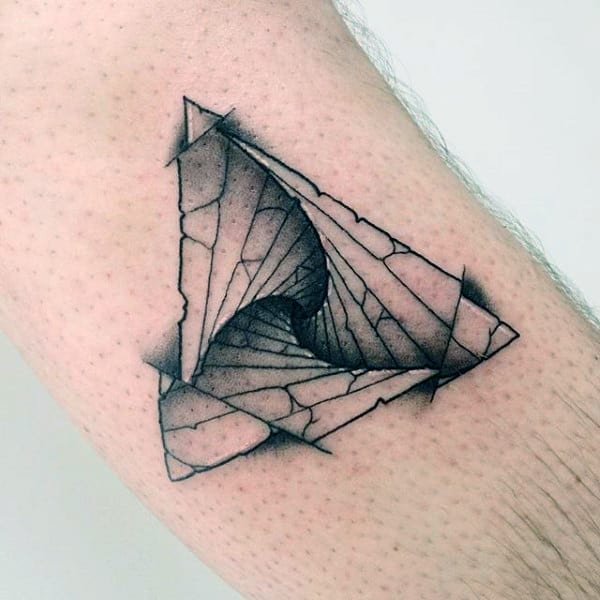 Shaded Spiral Staircase In Triangle Tattoo On Arms For Men
