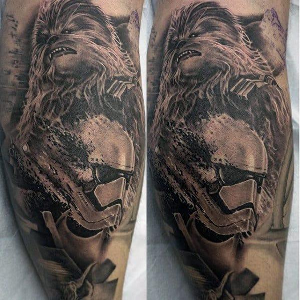 Shaded Star Wars Mens Chewbacca Leg Tattoo Deisgns