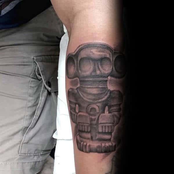 Shaded Stone Taino Shaman Forearm Tattoos For Men