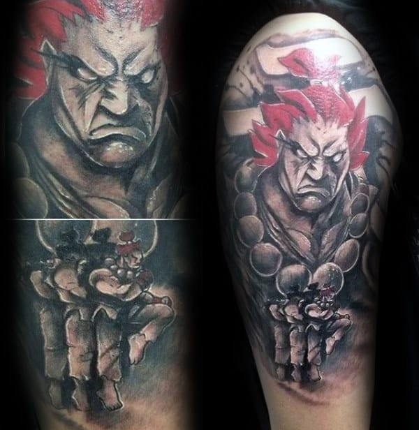 Shaded Street Fighter With Red Hair Mens Half Sleeve Tattoos