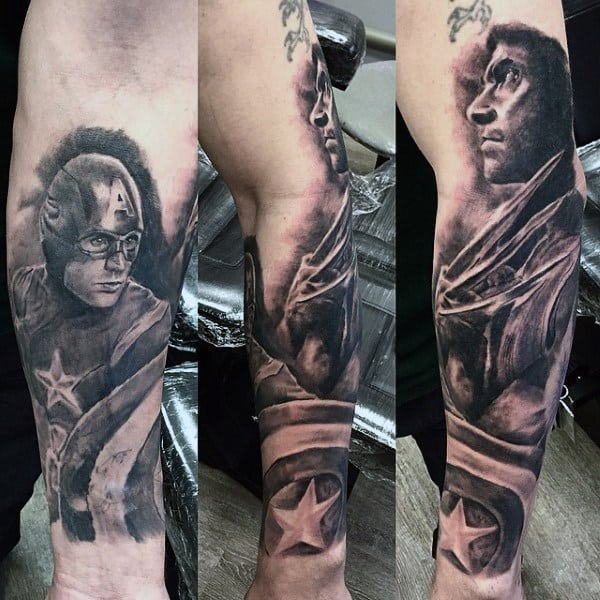 Shaded Superheros Mens Wolverine Forearm Sleeve Tattoos