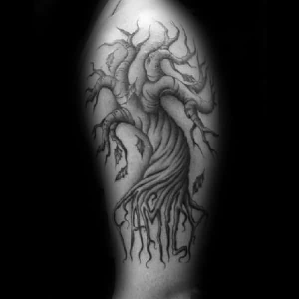 Shaded Tree With Family Lettering Roots Mens Arm Tattoo Design Ideas