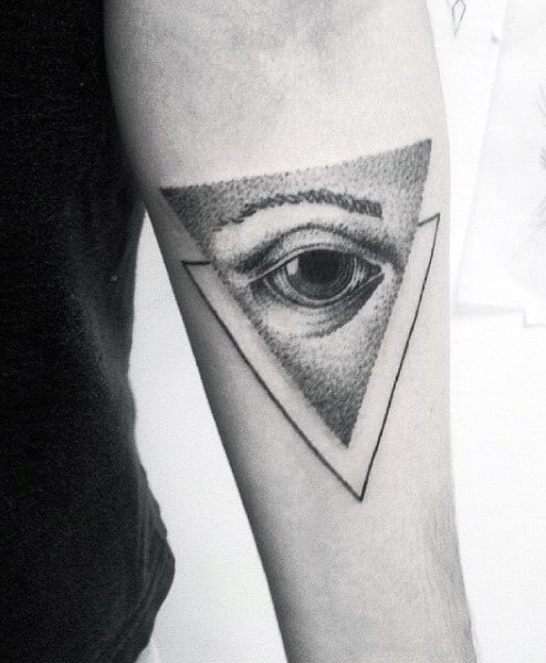 Shaded Triangle Eye Tattoo On Arms For Men