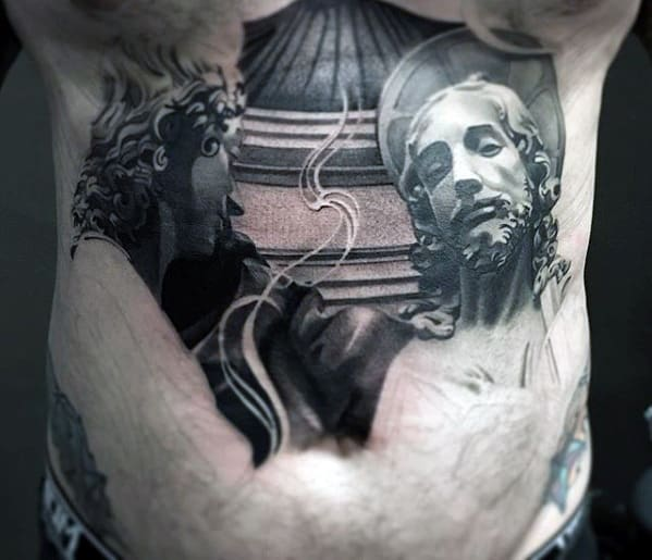 Shaded Unique Male Lower Chest Jesus Tattoo Ideas