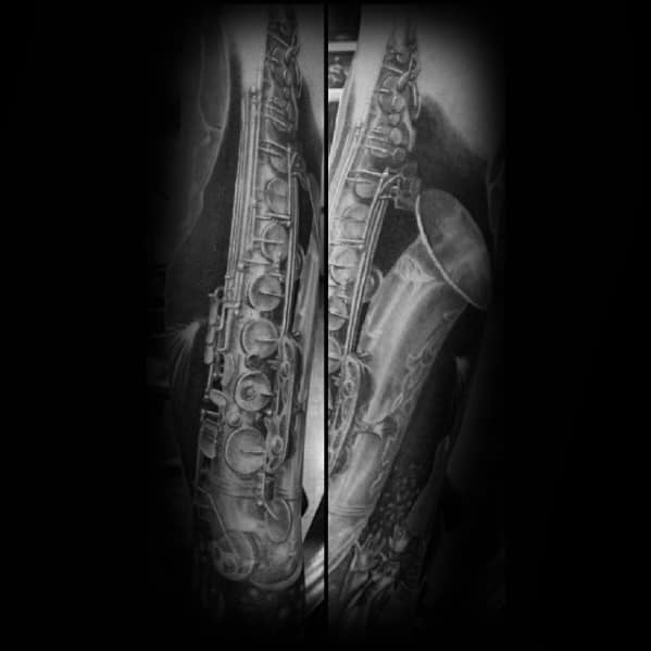 Shaded Unique Saxophone Male Forearm Tattoo Design Ideas