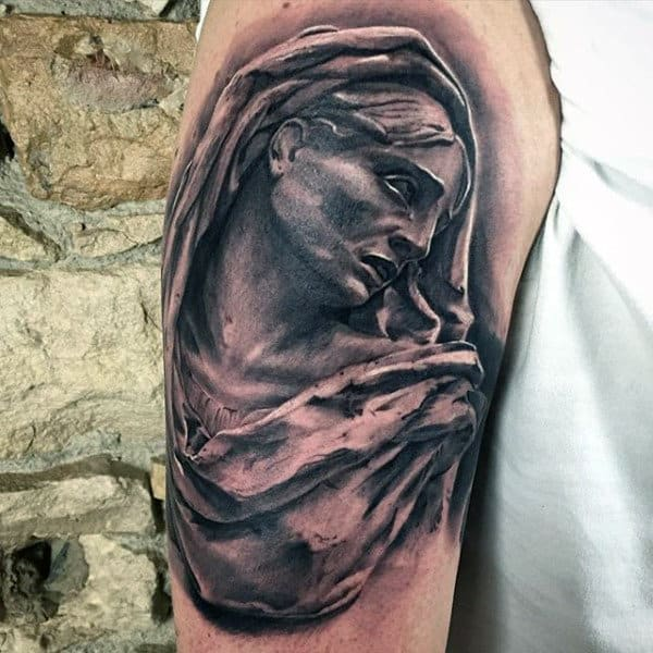 Shaded Upper Arm Male Virgin Mary Tattoos
