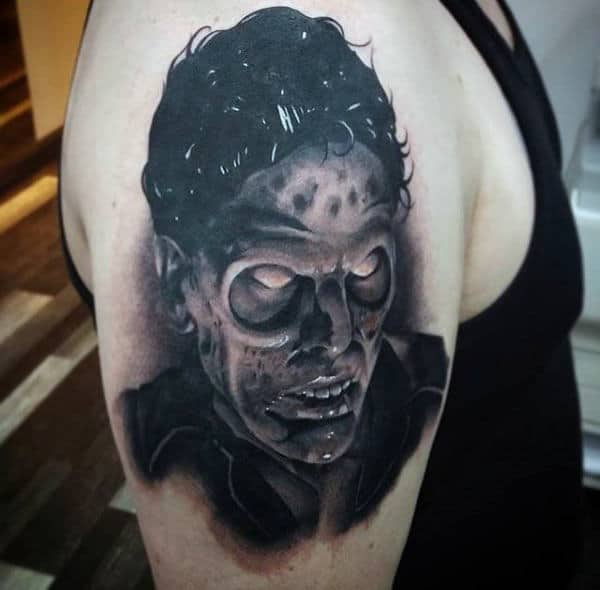 Shaded Upper Arm Male Zombie Tattoo Inspiration Ideas