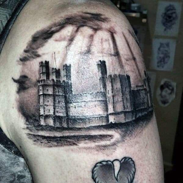 Shaded Upper Arm Scottish Mens Castle Tattoos