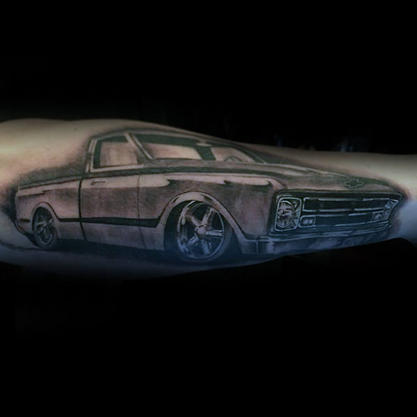 Shaded Vintage Chevy Truck Guys Tattoo Ideas On Outer Forearm