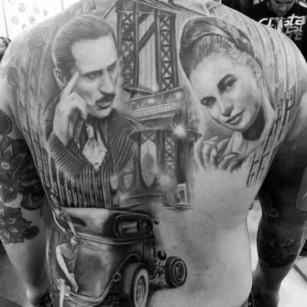 Shaded Vintage Mens Bridge Full Back Tattoo