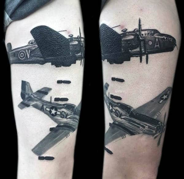 Shaded Vintage Warbird Mens Air Force Tattoos