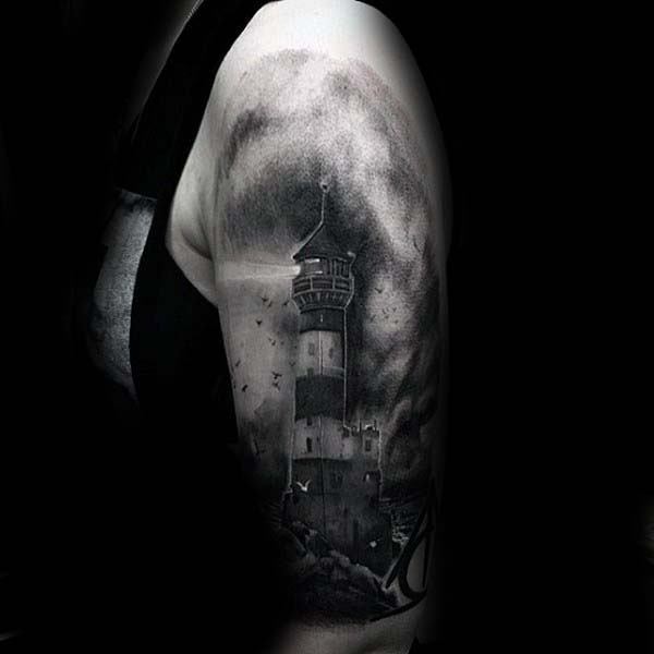 Shaded Watercolor Nice Mens Lighthouse Arm Tattoos