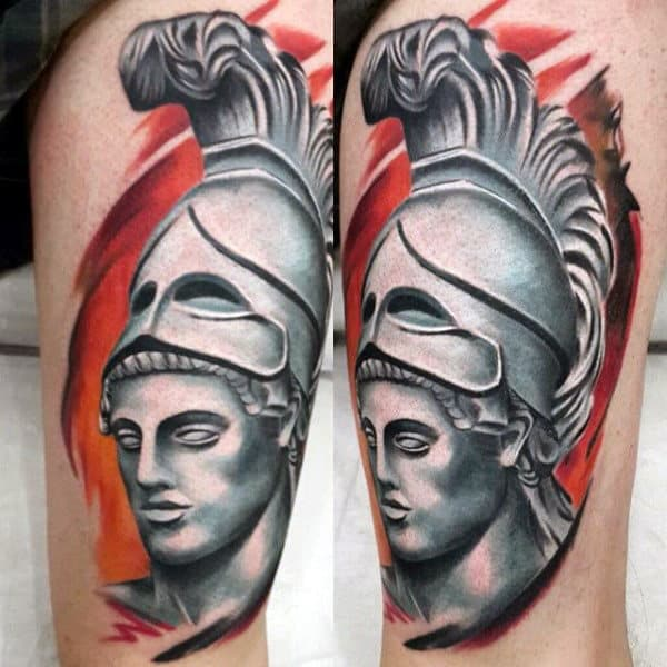 Shaded White And Black Ink Roman Warrior Awesome Tattoo Ideas For Guys On Leg