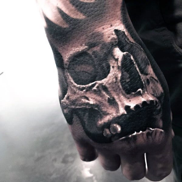 Shaded White Ink Badass Skull Male Hand Tattoo Ideas