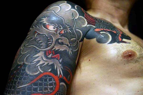 Shaded With Red Ink Highlights Mens Dragon Japanese Sleeve Tattoo Ideas
