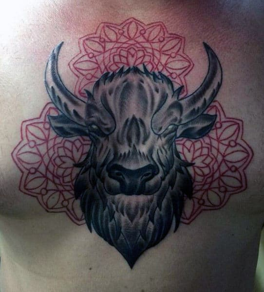 Shaded With Red Ink Pattern Taurus Guys Bull Chest Tattoos