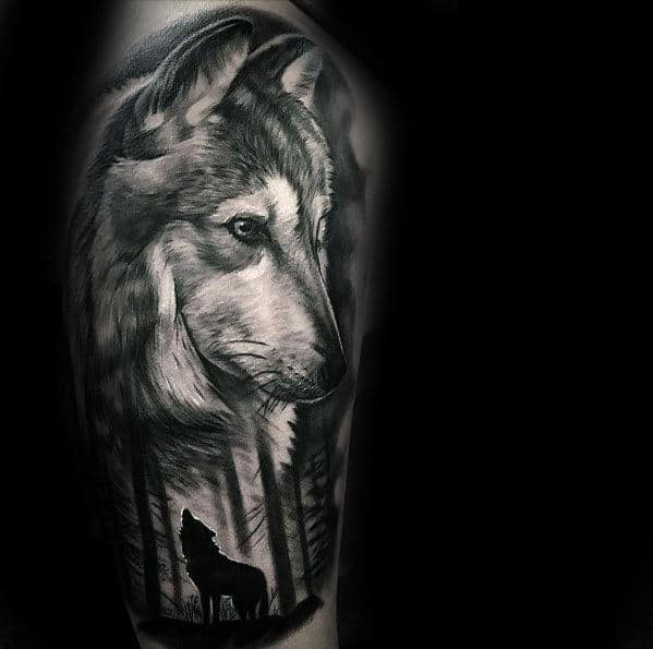 5dfb6c21582e2 Shaded Wolf Howling In The Forest Mens Realistic Arm Tattoo